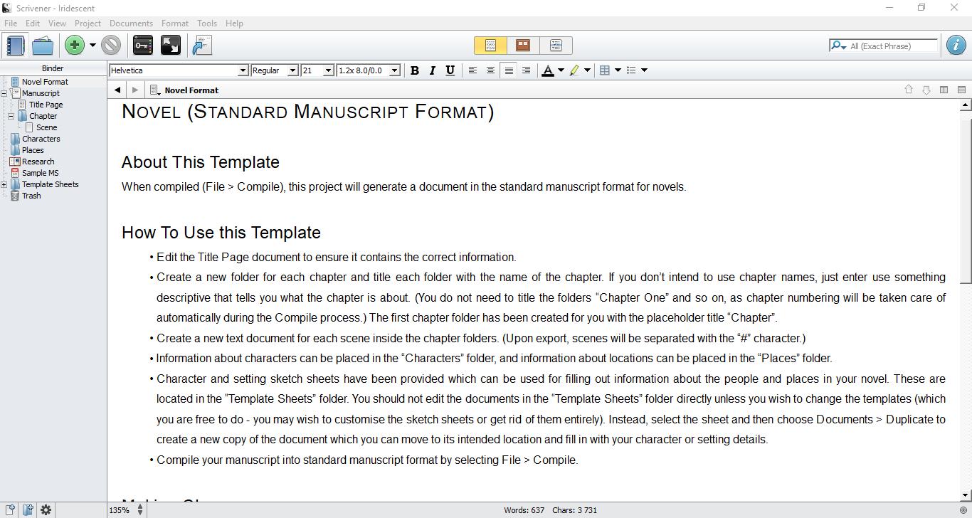 Scrivener Screen 1